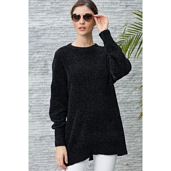 Black Cozy Scoop Neck Velvet Sweater