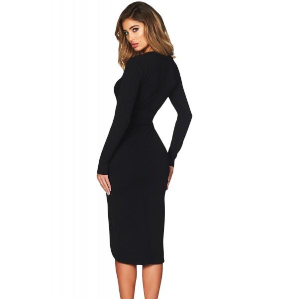Black Faux Wrap V Neck Long Sleeve Midi Dress