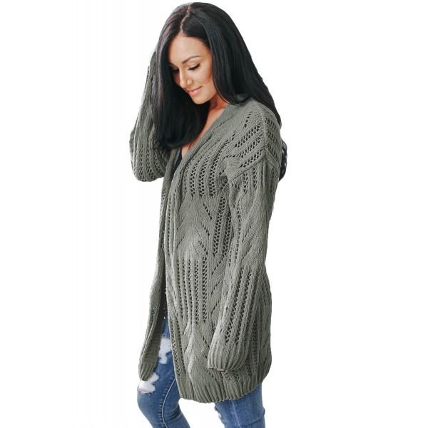 Gray Classic Open Knit Chenille Cardigan