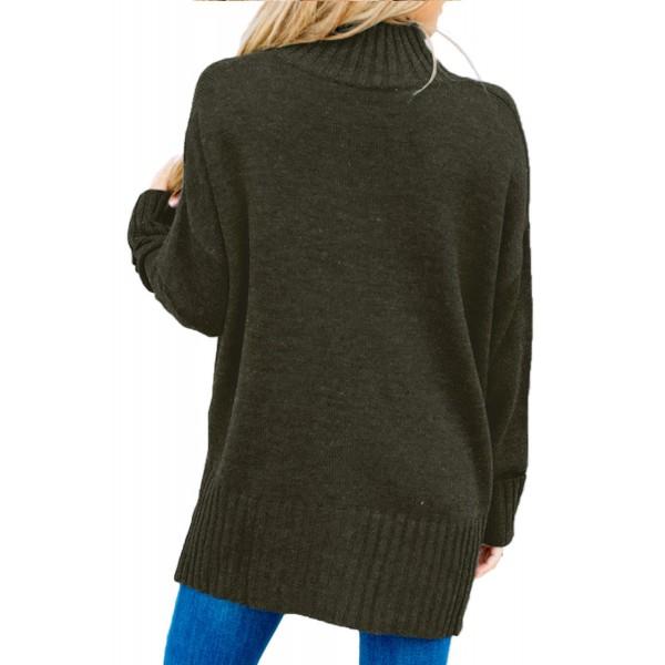 Khaki Green Turn-up Sleeve Turtle Neck Sweater